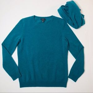 Talbots Teal Cashmere Sweater and Scarf S Petites